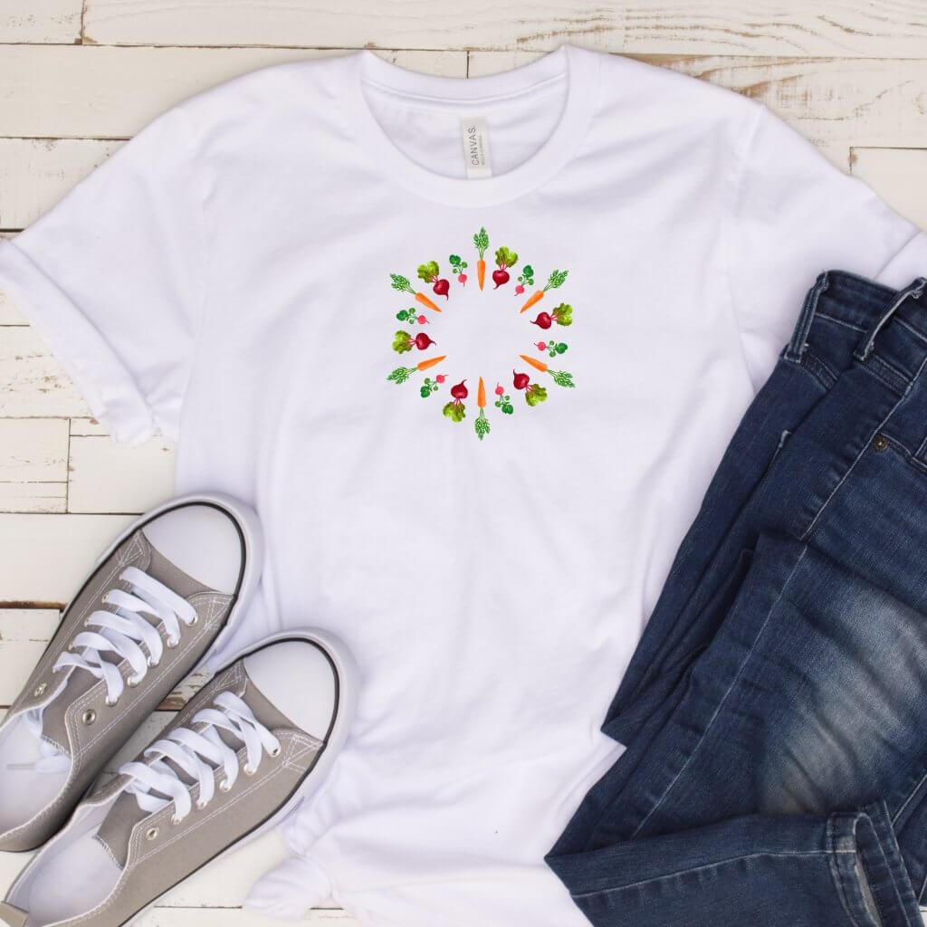 valkoinen T paita mokup ympyra