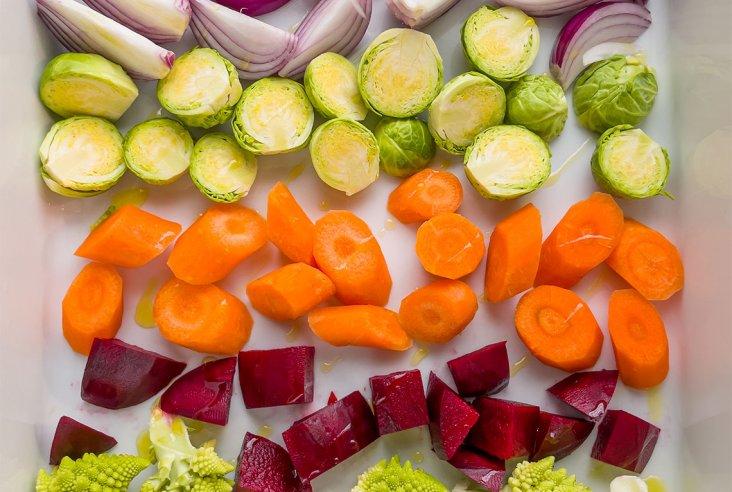 Värikkäät uunijuurekset ja vinaigrette